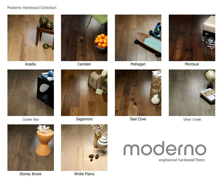 """Moderno Collection simply fashionable Moderno hardwood flooring starts with dramatic color visuals equal to contemporary high end furniture. Our evolutionary Glaze Tek Poly Finish employs Hand touched color glazing for depth, movement and natural artistic visuals. Moderno features fashionably longer 7' board lengths, with 6"""" widths. Glaze Tek is up to 3 times more wear resistant than standard poly finishes. In addition to incredibly durable finish, Moderno has a 4mm multi-generational wear layer (twice as thick as our competitors). Moderno is the perfect balance of artistry and craftsmanship"""